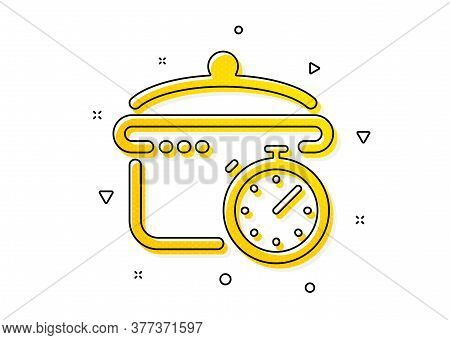 Cooking Timer Sign. Boiling Pan Icon. Food Preparation Symbol. Yellow Circles Pattern. Classic Boili