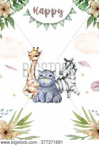 Watercolor Cartoon Cute Baby Zebra, Giraffe And Hippo Safari Animals With Tropical Frame Background.