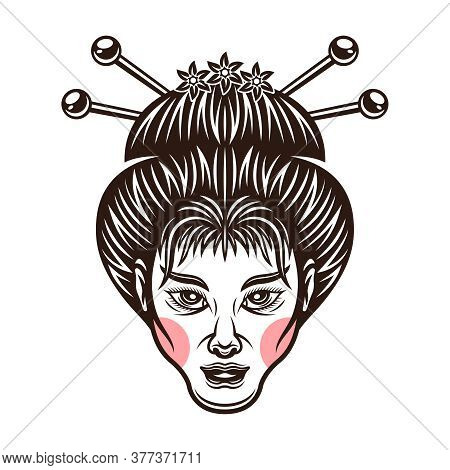 Geisha Head Traditional Japanese Girl Vector Monochrome Illustration Isolated On White Background