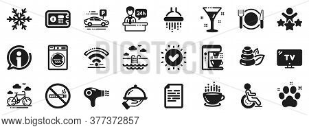 Wi-fi, Air Conditioning And Coffee Maker Machine. Hotel Service Icons. Spa Stones, Swimming Pool And