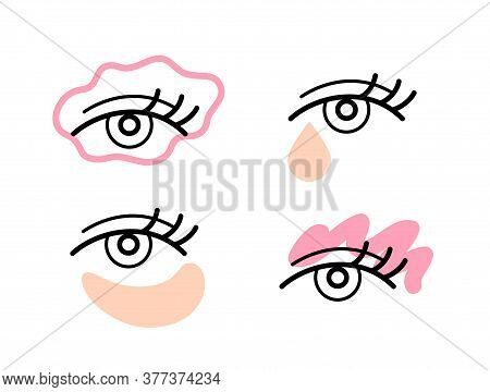 Eye Skincare Beauty Routine Icons. Simple Line Eye Icons With Creamy Care Products