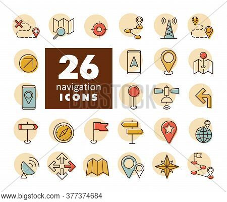 Maps, Location, Navigation Vector Icons Set. Graph Symbol For Travel And Tourism Web Site And Apps D