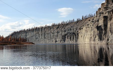 Landscape On The Siberian Taiga River During Rafting In Autumn. Riverbed Moorocan In September Durin