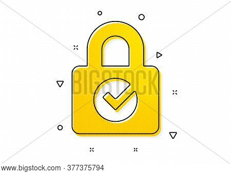 Private Locker Sign. Lock With Check Icon. Password Encryption Symbol. Yellow Circles Pattern. Class
