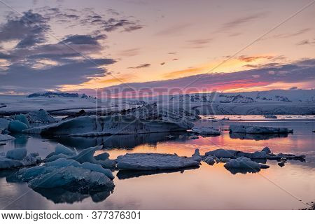 Colorful Sunset In Jokulsarlon Glacier Lagoon In Vatnajokull National Park, Iceland