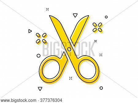 Cutting Tool Sign. Scissors Icon. Tailor Utensil Symbol. Yellow Circles Pattern. Classic Scissors Ic