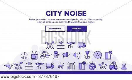 City Noise And Sounds Landing Web Page Header Banner Template Vector. Rattle Of Train Wheels And Car