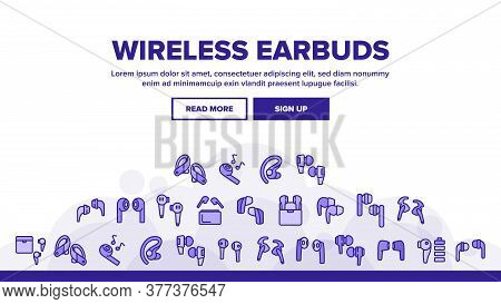 Wireless Earbuds Stereo Device Landing Web Page Header Banner Template Vector. Airpods Wireless Head