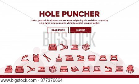 Hole Puncher Tool Landing Web Page Header Banner Template Vector. Hole Puncher Stationery Equipment,