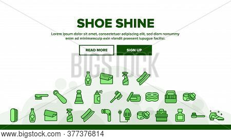 Shoe Shine Service Landing Web Page Header Banner Template Vector. Brush And Cream, Electronic Heate