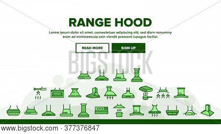 Range Hood Device Landing Web Page Header Banner Template Vector. Cooker Range Hood Kitchen Equipmen