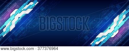 Hi-tech Vector Illustration With Various Technology Elements. Wide Digital Communication On The Blue