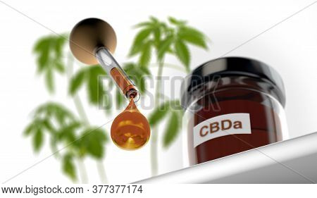 3d Illustration Of Droplet Dosing Medicinal Marijuana Hemp Cbda Oil With Glass Bottle And Marijuana