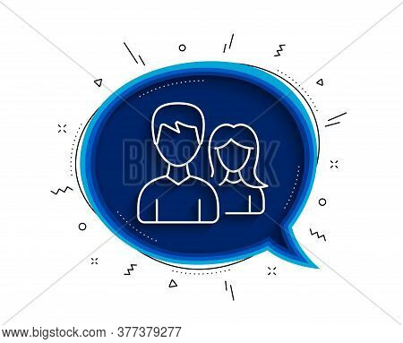 Couple Line Icon. Chat Bubble With Shadow. Users Group Or Teamwork Sign. Male And Female Person Silh