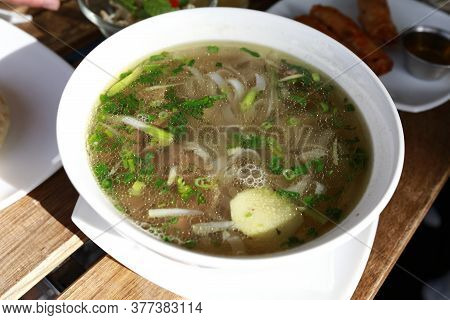 Vietnamese Beef Noodle Soup In Bowl