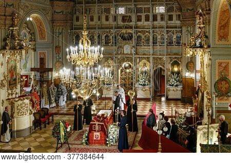 Uzhgorod, Ukraine - July 20, 2020: Priests And Parishioners During The Farewell Ceremony For The Bis