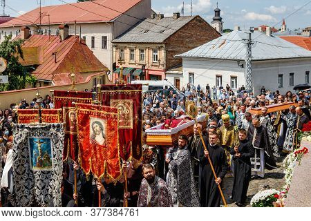 Uzhgorod, Ukraine - July 20, 2020: Priests Carry The Coffin During The Farewell Ceremony With Bishop