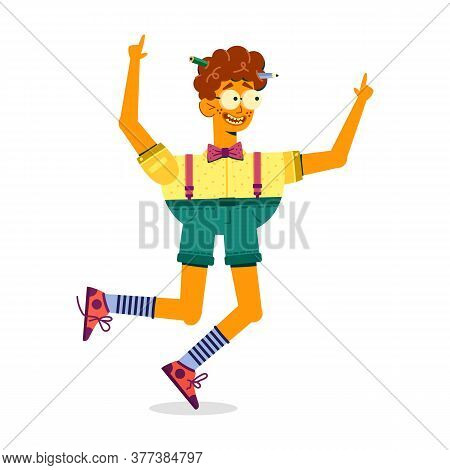 Curly Funny Guy Jumping With Happiness, Cartoon. Teen Boy Geek With Pencils In His Head Raised His H