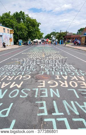 Mpls, Mn/usa - June 21, 2020: Names Of People Killed By Police Are Spelled Out On Street One Block A