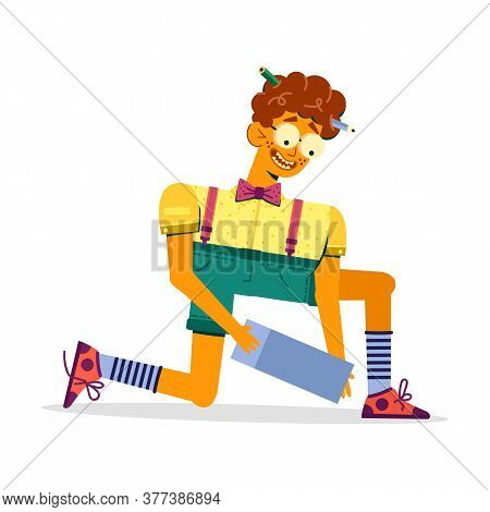 A Stylish Guy In Shorts Bent Over And Holds An Object. Skinny Boy Geek With Glasses Knelt Down, Vect