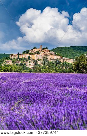 Banon, Provence - Hilltop Village With Lavender Fields In France.