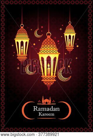 Ramadan Kareem With Arabic  Traditional Lantern And Islamic Ornamental Colorful Detail Of Mosaic For