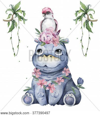 Hand Drawn Cute Isolated Tropical Summer Watercolor Hippo Animals. Cartoon Animal Illustrations, Pin