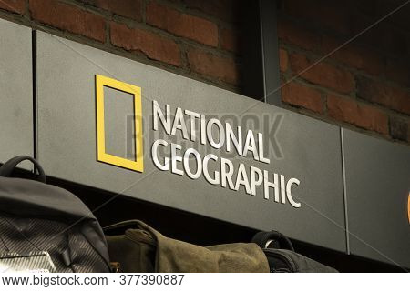 Krasnoyarsk, Russia, July 20, 2020: National Geographic The Companys Logo On A Display Case With Goo