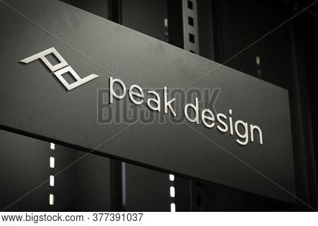 Krasnoyarsk, Russia, July 20, 2020: Peak Design-company Logo On The Rack With Photo Accessories