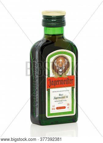 Galati, Romania - September 22, 2015. Jagermeister Bottle Of 40ml. Jagermeister Is A German Bitter L