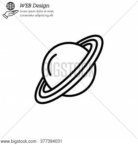 Saturn Planet Icon Thin Line, Linear, Outline Vector. Saturn Planet Simple Sign, Logo