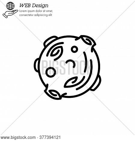 Moon Astronomical Body Icon Thin Line, Linear, Outline Vector. Moon Astronomical Body Simple Sign, L