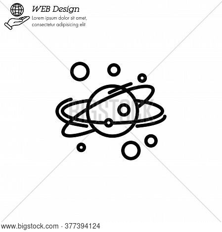 Solar System Icon Thin Line, Linear, Outline Vector. Solar System Simple Sign, Logo. Planets Revolve