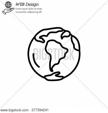 Planet Earth Icon Thin Line, Linear, Outline Vector. Planet Earth Simple Sign, Logo. World Icon Isol