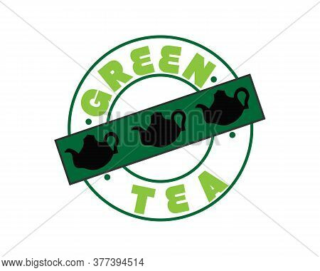 Green Type Of Tea With Three Silhouettes Of Teapot. Hand Calligraphy Lettering. Vector Illustration.