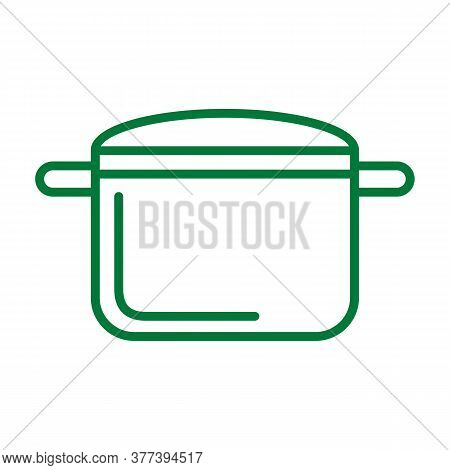 Pot Icon. Drop Shadow Pot Icon. Kitchen Utensil. Household Kitchen Equipment. Isolated Pot Black Ill