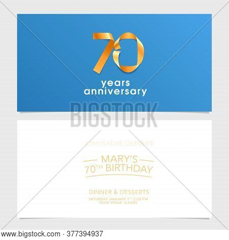 70 Years Anniversary Invitation Vector Illustration. Design Element With Number