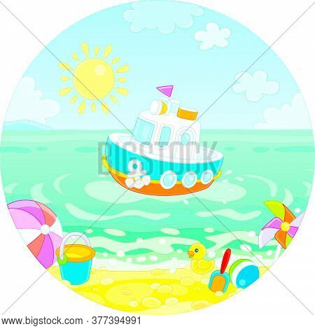 Beautiful Small Toy Motorboat Floating In Blue Sea Water Near A Tropical Sandy Beach Of A Seaside Re