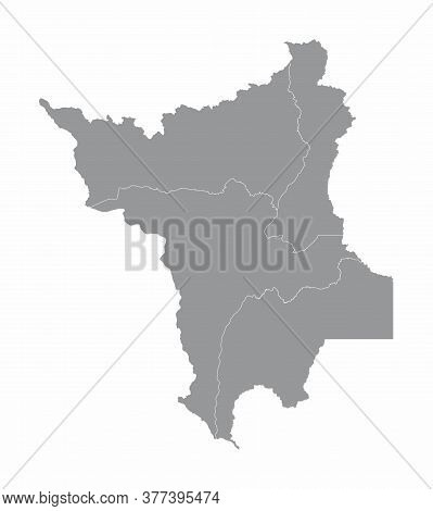 The Roraima State Regions Map On White Background, Brazil