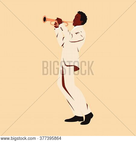 Dark Skinned Male Musician Playing Trumpet. Flat Vector Illustration Of A Man Performing Solo On Sta
