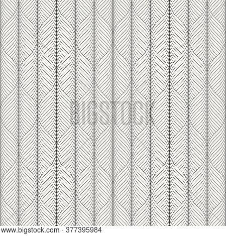 Linear Vector Pattern, Repeating Abstract Skeleton Leaves Vertical On Tube, Monochrome Stylish. Patt