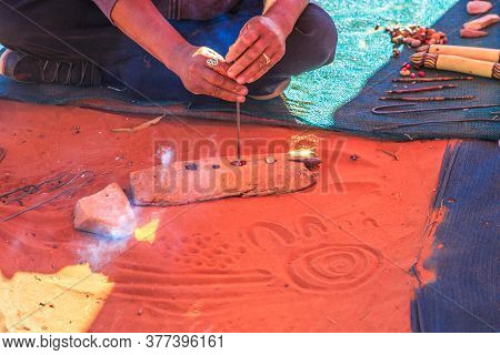 Kings Creek Station, Northern Territory, Australia - Aug 21, 2019: Unrecognizable Indigenous Austral
