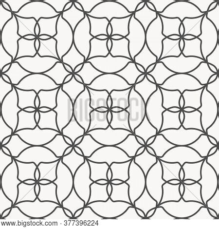 Geometric Linear Vector Pattern, Repeating Abstract Linear Seamless Floral. Monochrome Stylish. Patt