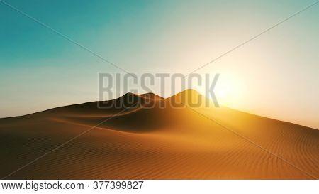 A desert dune sunset background 3D illustration
