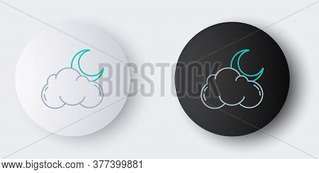 Line Cloud With Moon Icon Isolated On Grey Background. Cloudy Night Sign. Sleep Dreams Symbol. Night