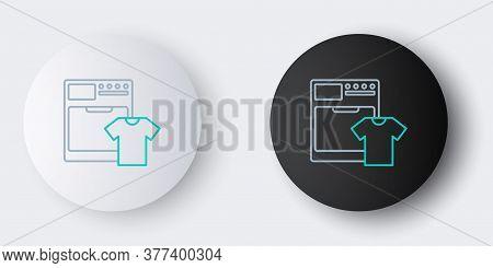 Line Washer And T-shirt Icon Isolated On Grey Background. Washing Machine Icon. Clothes Washer - Lau