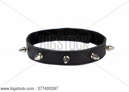 Black Collar With Black Lining, Rivets, Spikes On A White Background. Collar With Metal Spikes For E