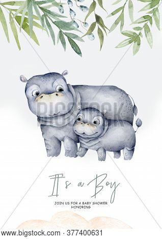 Cute Baby Hippo With Mother Hand Drawn Adorable Watercolor African Animals Illustration On White Bac