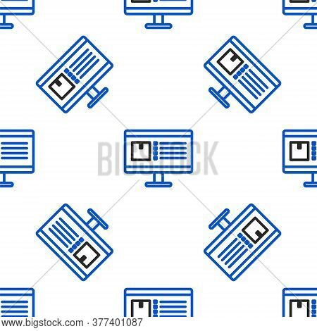 Line Computer Monitor With App Delivery Tracking Icon Isolated Seamless Pattern On White Background.
