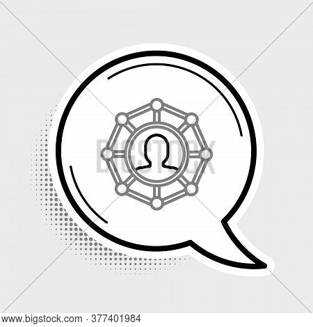Line Project Team Base Icon Isolated On Grey Background. Business Analysis And Planning, Team Work,